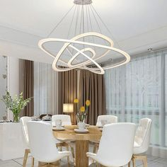 Dutti LED Chandelier Freedom light creative personality dining room modern minimalist lighting post modern led ring three atmospheric living room office d… Modern Hanging Lights, Hanging Ceiling Lights, Led Chandelier, Room Lights, Led Ceiling, Modern Dining Room Lighting, Modern Room, Modern Lighting, Luxury Lighting