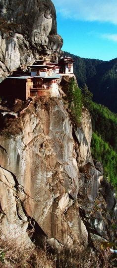 Paro Valley, Bhutan. Taktshang Monastery was built on the side of a 10,000 ft. cliff.