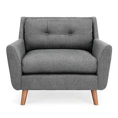 Dunelm Halston Fabric Snuggler Grey - Modern Winged Armchair - Spring Cushioned Seat - Button Back Detailing - Contemporary Angled Wooden Legs Living Room Decor Orange, Living Room Decor Cozy, Winged Armchair, Grey Armchair, Living Room Plan, Upholstered Arm Chair, New Furniture, Soft Furnishings, Snuggles