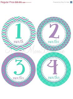 ON SALE Baby Girl Monthly Milestone Photo Prop Month Baby Growth Stickers Aqua Purple Chevron Dots Shower Gift PERFECTLY Packaged on Etsy, $8.96