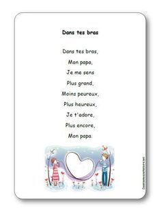 Comptine Dans tes bras Fathers Day Poems, Fathers Day Crafts, Happy Fathers Day, Happy Mothers, Puffy Paint, Mother And Father, Learn French, Science Activities, Holidays And Events