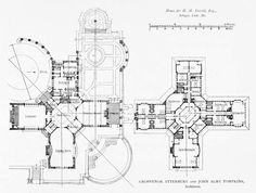 Plans of Grosvenor Atterbury's Verrill Residence Architecture Mapping, Architecture Drawings, Architecture Plan, Historical Architecture, Residential Architecture, Dream House Plans, House Floor Plans, Architectural Floor Plans, Floor Plan Drawing
