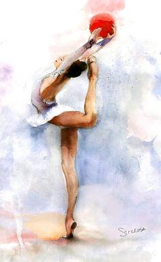 Masha Titova (Rus) by Strekosa Design: Gymnastics Wallpaper, Gymnastics Posters, Dancing Drawings, Ballet Poses, Decoupage Vintage, Body Poses, World Of Sports, Dance Art, Rhythmic Gymnastics