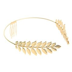Cara Leaf Headband ($20) ❤ liked on Polyvore featuring accessories, hair accessories, jewelry, hair, hats, gold, braided headband, woven headbands, head wrap headband and hair combs