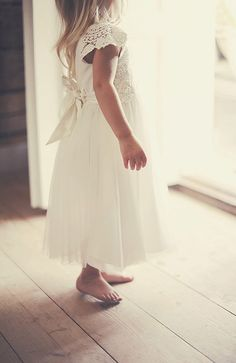 Beautiful crochet flower girl dress @ My barn wedding