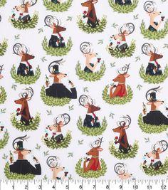 Keepsake Calico Holiday Cotton Fabric-Reindeer