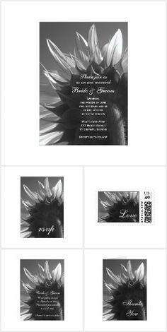 Chic Sunflower WEDDING SET COLLECTION Black & White Garden Simple Pretty Personalized Sunflower Wedding Stationery Invites Announcements Invitations Postage Stamps Thank You RSVP Cards & More!