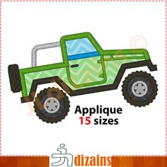 Jeep applique design. Machine embroidery design - INSTANT DOWNLOAD - 15 sizes. Off road car applique. Offroad embroidery design. by JLdizains on Etsy or www.alldayembroidery.com