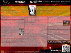 AGENDA: 07 de noviembre miércoles. Encuentra todos los eventos de cultura y ocio de Almería en Almeriaplay.com