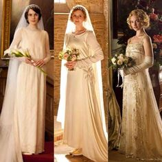 Lady Mary, Lady Edith, and Lady Rose. All in their wedding gowns. Downton Abbey. Find Your Downton Abbey worthy Bridal Jewelry at www.bengarelick.com