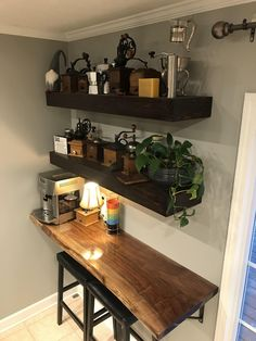 Coffee bar and floating shelves I made for our kitchen. Bar-top is black walnut … Coffee bar and floating shelves I made for our kitchen. Bar-top is black walnut and shelves are stained cedar fence boards. - Style Of Coffee Bar In Kitchen Home Bar Decor, Kitchen Decor, Kitchen Design, Coffee Bars In Kitchen, Coffee Bar Home, Kitchen Bar Tables, Floating Shelves Kitchen, Bar Shelves, Kitchen Shelves