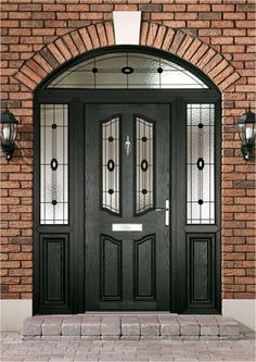 If the time has come for you to consider changing your front or back door, we can help - build a composite door; Porch Doors, Entrance Doors, House Doors, House Entrance, Grand Entrance, Front Door Design, Front Door Colors, Black Front Doors, Black Windows