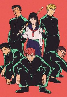 Haruko at the center of the Sakuragi Army! Manga Anime, Comic Manga, Manga Art, Cool Anime Girl, Anime Guys, Slam Dunk Manga, Great Teacher Onizuka, Sun Ken Rock, Basketball Anime
