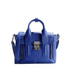 3.1 Phillip Lim Blue Pashli Mini Leather Satchel - Textured Leather Crossbody