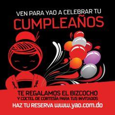 ¡#VenParaYAO a celebrar tu cumpleaños! Te regalamos el bizcocho y cóctel de cortesía para tus invitados. 809.472.2011 o accede a nuestra página web www.yao.com.do Movies, Movie Posters, Crack Cake, Films, Film Poster, Cinema, Movie, Film, Movie Quotes