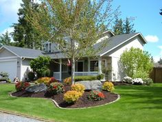 my front yard landscaping | For the front yard, build seating area between trees!