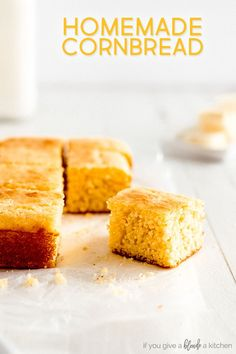 This homemade cornbread recipe is subtly sweet with a tender crumb. It is a traditional Northern style cornbread that calls for melted butter, yellow cornmeal, eggs and buttermilk. It pairs well with chili and holiday meals. | www.ifyougiveablondeakitchen.com via @haleydwilliams