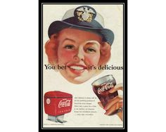 CocaCola Woman in Navy Cap 1950s Illustrated by thevintageshop, $5.95