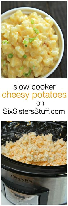 Slow Cooker Cheesy Potatoes on SixSistersStuff.com | The best creamy, cheesy potatoes! These make a great side for any dinner!