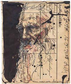 """Leo Tolstoi"" 21 x 17 cm Federzeichnung, Aquarell, Farbstift 2017"