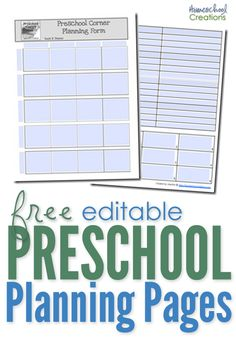 free editable preschool planning pages from Homeschool Creations