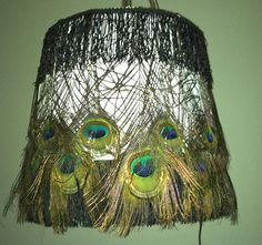 Peacock Lamp Shade with vintage fringe by KSDllc on Etsy