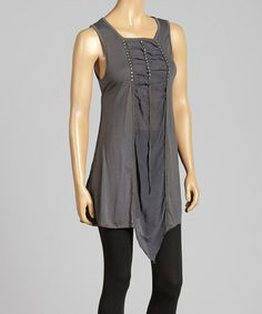 Another great find on #zulily! Gray Ruched Rhinestone Top by Pretty Angel #zulilyfinds