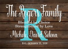 Custom Name Blended Family Name Sign Monogram - Rustic Inspired Wood Sign or Canvas Wall Hanging - Wedding, Anniversary Gift, Housewarming
