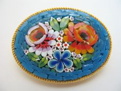Micro Mosaic small brooch beautiful condition blue