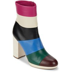 VALENTINO GARAVANI Colorblock Leather Ankle Booties ($690) ❤ liked on Polyvore featuring shoes, boots, ankle booties, side zipper boots, leather cap toe boots, block heel boots, side zip boots and leather boots