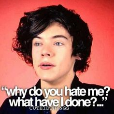 Please dont give Harry hate. Exactly what he said, what has he done to you? Please stop hating on him. Y'all haters are probably jealous and you want to hurt someone. But just pray. Dont make anyone feel bad because you are hirt or you just ant to hate someone. It makes me cry.