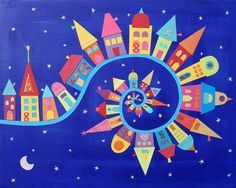 Colorful Town --- Caroline Rose Art - Twisty Twirly Town art print This could be my joy to the world or it's a small world banner Club D'art, Art Club, Arte Elemental, Classe D'art, Ecole Art, House Quilts, Collaborative Art, Art Classroom, Art Plastique