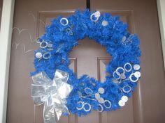 Diabetes Awareness Wreath - Blue with Silver Circles. via Etsy.