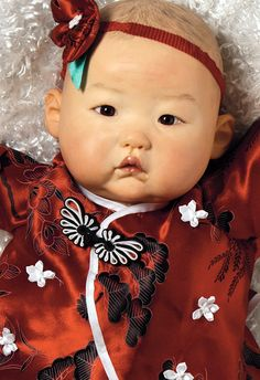 Cute Asian Baby Doll, Baby Mei , 20 inch Chinese Baby in Vinyl, Weighted Body
