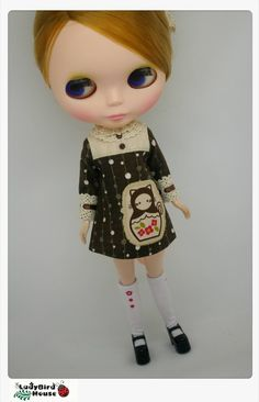 LADYBIRD HOUSE Blythe Outfit Russian Dolls Dress - Cat $24.00