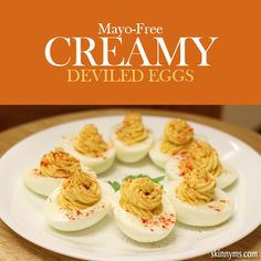 Mayo- free Creamy Deviled Eggs. These are the best deviled eggs ever. Ever, ever. #deviledeggs #healthysnacks #summerpartyrecipes