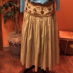 HPGorgeous Boho skirt  JOHN PAUL RICHARDS Beautiful full skirt with fabulous bead design.. See pic where threading has came loose and a few beads missing.. Would be an easy fix for a crafty person.. Side zip.. Zipper pull missing however zipper works fine.. Beautiful piece John Paul Richards Skirts