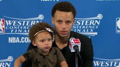 Let's just say Derrick Rose's son PJ isn't the only NBA kid who can control a crowd of media. #RileyCurry