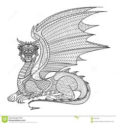 Drawing Dragon For Coloring Book. Stock Vector - Image: 59621094
