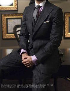 Q Three Piece Grey Windowpane Suit Moda Masculina 6fad20c5e19
