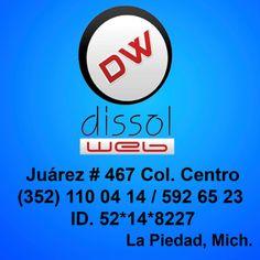 DissolWeb  Benito Juárez #467, Centro  Tel. 352 110 0414  www.facebook.com/pages/DissolWeb/214146108630260  La Piedad, Mich.