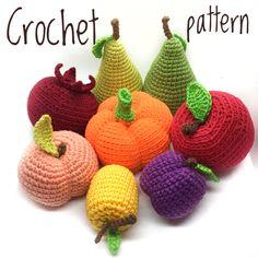 Crochet fruit, amigurumi fruit, amigurumi, play food