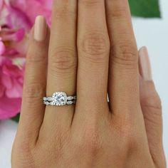 3/4 ctw Halo Wedding Set, Delicate Bridal Rings, Man Made Diamond Simulants, Art Deco Engagement Ring, Halo Wedding Ring, Sterling Silver by TigerGemstones on Etsy https://www.etsy.com/listing/242862617/34-ctw-halo-wedding-set-delicate-bridal