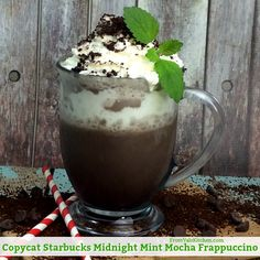 This Copycat Starbucks Midnight Mint Mocha Frappuccino Recipe From Val's Kitchen is really simple to make so now there's no need to get in the car or fight a crowd.