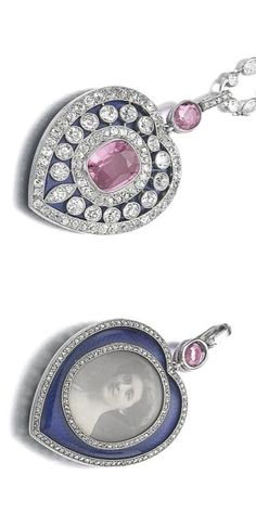 Pink sapphire, sapphire, enamel and diamond pendant/necklace, Cartier, 1911 The heart shaped pendant set with a cushion-shaped pink sapphire over a blue enamel ground, highlighted with circular- and single-cut diamonds, the reverse with a sepia portrait photograph of a young woman within a rose diamond frame, over a blue guilloché enamel ground