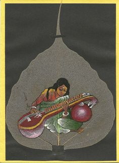 Women playing Sitar  Painting on a real leaf  by museumshop, $15.00  Size 5 inches by 7 inches.  Ready to frame.  Painting on a real leaf.  Collectible leaf art.Original price $30    SALE Price $15