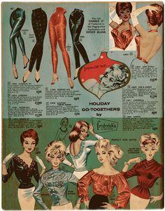 Frederick's of Hollywood shirt blouse pants color illustration black red blue white orange cigarette pencil halter Vintage Wardrobe, Vintage Outfits, Vintage Advertisements, Vintage Ads, 1960s Fashion, Vintage Fashion, Fashion Marketing, Vintage Lingerie, Fashion Plates