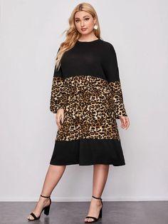 Flattering Plus Size Dresses, Leopard Dress, Western Dresses, Dress P, Kurti, Color Blocking, Fashion News, Lanterns, High Neck Dress