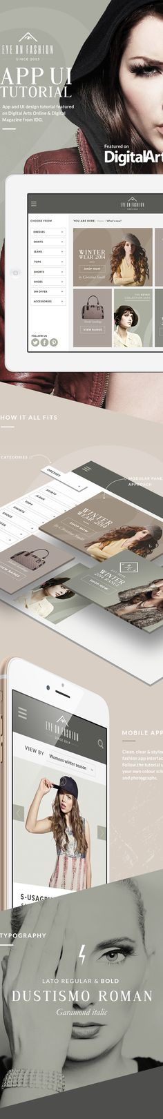 Fashion iPad app UI Tutorial on Digital Arts online on Behance