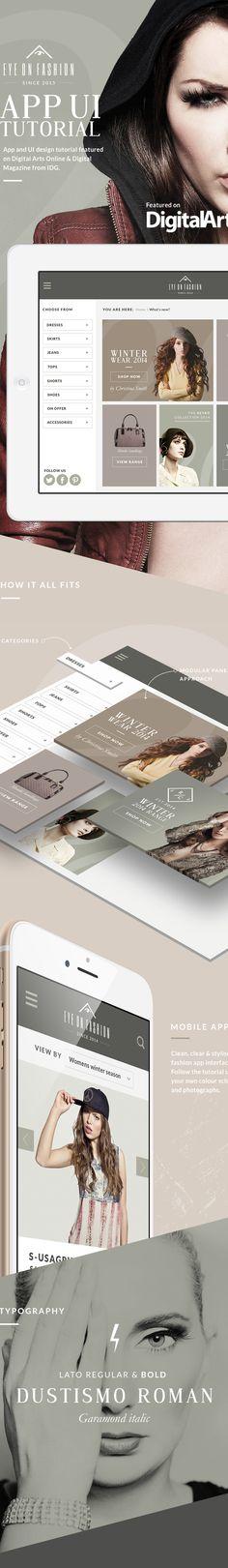 Fashion iPad app UI Tutorial on Digital Arts online on Behance
